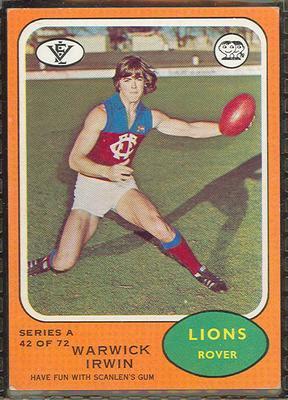 1973 Scanlens (Scanlens) Australian Football Warwick Irwin Trade Card
