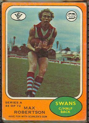 1973 Scanlens (Scanlens) Australian Football Max Robertson Trade Card