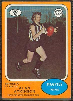 1973 Scanlens (Scanlens) Australian Football Alan Atkinson Trade Card