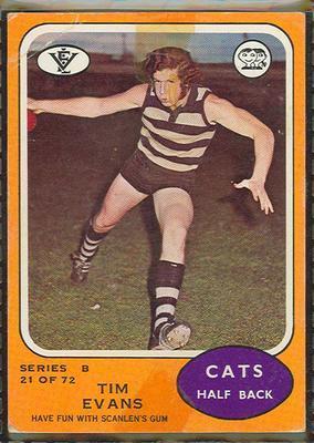 1973 Scanlens (Scanlens) Australian Football Tim Evans Trade Card