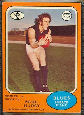 1973 Scanlens (Scanlens) Australian Football Paul Hurst Trade Card