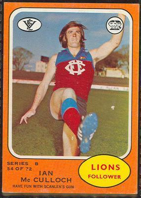 1973 Scanlens (Scanlens) Australian Football Ian McCulloch Trade Card