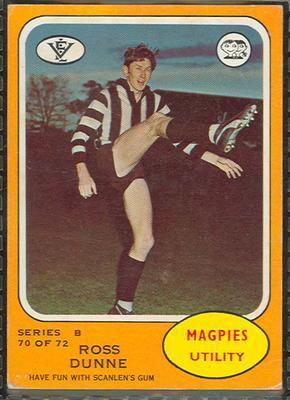 1973 Scanlens (Scanlens) Australian Football Ross Dunne Trade Card