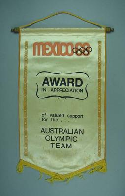 Wall hanging awarded to Australian Olympic Team, 1968 Olympic Games