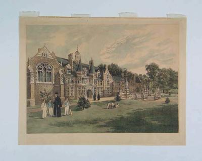 Hand-coloured etching of Beaumont College, 1892