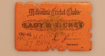 Melbourne Cricket Club Lady's Ticket, season 1961/62