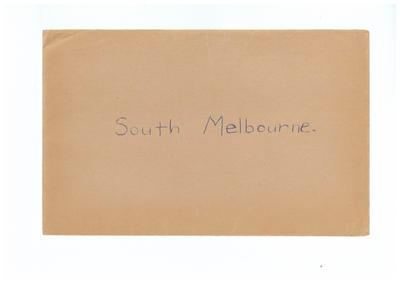 Envelope, used to store South Melbourne FC trade cards