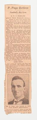 Newspaper clipping, Percy Page's retirement from Richmond FC 1931