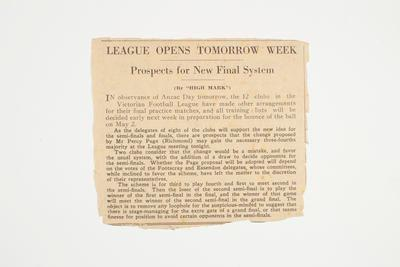 """Newspaper clipping, """"League Opens Tomorrow Week"""""""