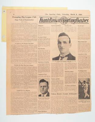 """Newspaper clipping, """"On the Role of Club Officials"""" 3 Mar 1928"""