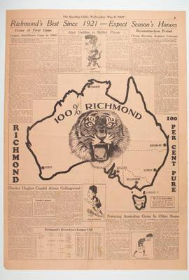 """Newspaper clipping, """"Richmond's Best Since 1921 - Expect Season's Honours"""" 1931"""
