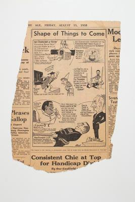 """Newspaper clipping, """"Shape of Things to Come"""" 15 Aug 1958"""