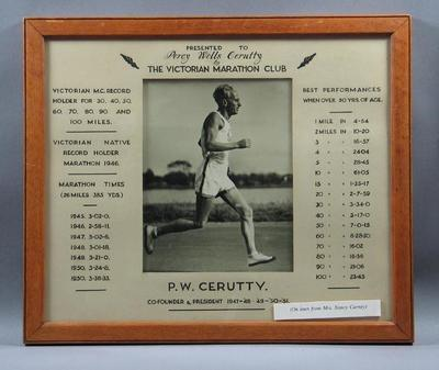 Photograph of Percy Cerutty running, with associated times and records