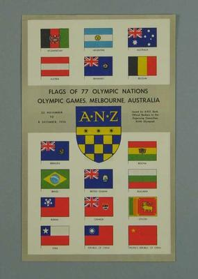 Leaflet, flags of 1956 Olympic Games competing nations; Documents and books; 1992.2627.92