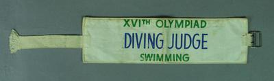 Armband, 1956 Olympic Games diving judge