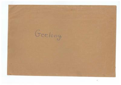 Envelope, used to store Geelong FC trade cards; Documents and books; 1991.2494.51