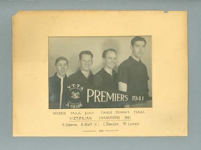 Photograph of Middle Park Surf Table Tennis Team, Victorian Champions 1941