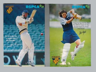Set of RSPCA posters, featuring Victorian cricketers c1998; Documents and books; 1999.3456