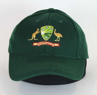 Green cricket cap, embroidered Cricket Australia logo