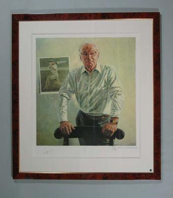 Lithographic print of a portrait of Sir Donald Bradman, artist Bill Leak