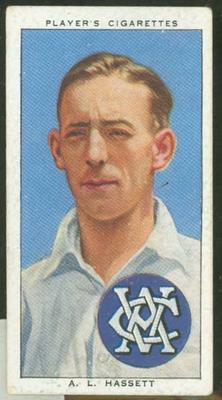 1938 Player's Cigarettes Cricketers Lindsay Hassett trade card