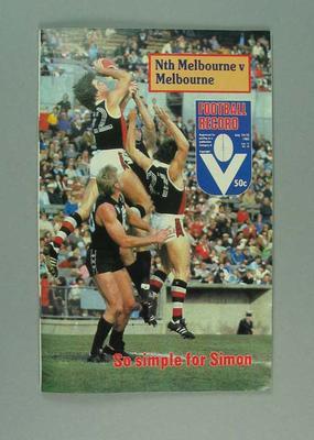 Football Record, North Melbourne FC v Melbourne FC - July 1982