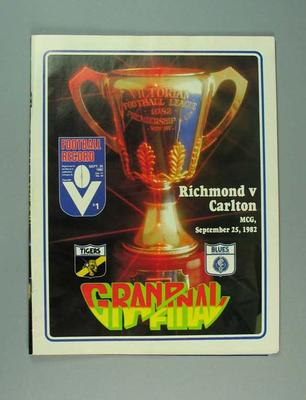 Football Record, 1982 VFL Grand Final - Richmond FC v Carlton FC