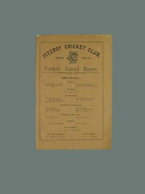 Annual report, Fitzroy Cricket Club - season 1902/03