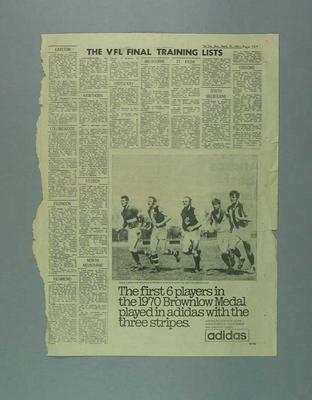 """Newspaper clipping, """"The VFL Final Training Lists"""" 1971"""