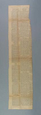 """Newspaper clipping, The Argus """"School Sports"""" 18 Oct 1932"""