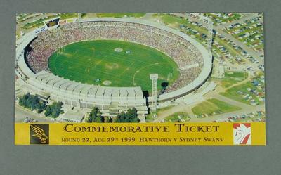 Ticket to final game at Waverley Park, Hawthorn v Sydney Swans - 29 Aug 1999