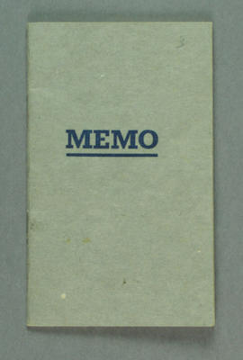 Memo book, used by AAP typist Philippa Cavanagh during 1956 Olympic Games