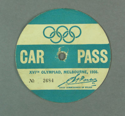Car pass, 1956 Olympic Games