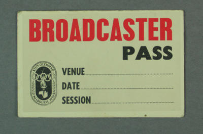 Broadcaster pass, 1956 Olympic Games; Documents and books; 1999.3462.4