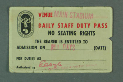 Staff pass, 1956 Olympic Games; Documents and books; 1999.3462.5