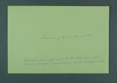 Envelope for card containing various AAP related material, 1956 Olympic Games
