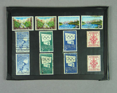 Twelve mounted stamps, 1956 Melbourne Olympic Games designs