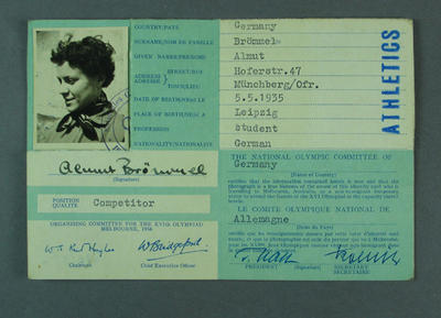 Identification card for Almut Brömmel, 1956 Olympic Games