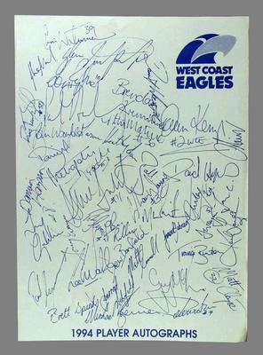 Autograph sheet, West Coast FC 1994; Documents and books; 1994.3016.5