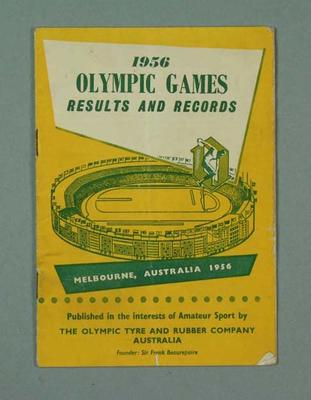 """Booklet, """"1956 Olympic Games Results and Records"""""""