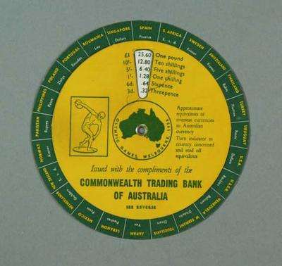 Currency converter, Commonwealth Trading Bank of Australia - 1956 Olympic Games