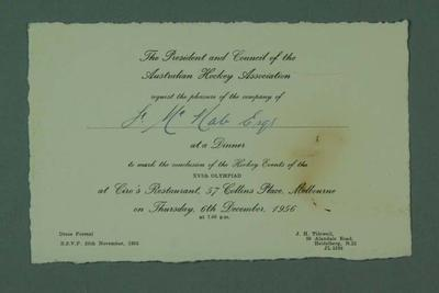 Invitation to Aust Hockey Association 1956 Olympic Games Conclusion dinner, 6 Dec