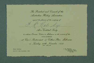 Invitation to Aust Hockey Association 1956 Olympic Games cocktail party, 20 Nov