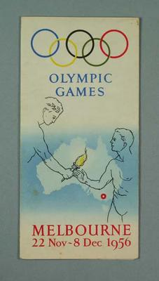 Pamphlet, 1956 Melbourne Olympic Games; Documents and books; 1999.3485.11
