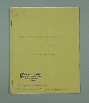Booklet, List of 1956 Olympic Games Hockey Officials; Documents and books; 1999.3485.12