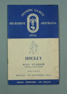 Programme for 1956 Olympic Games hockey semi-finals, 3 Dec; Documents and books; 1999.3485.15
