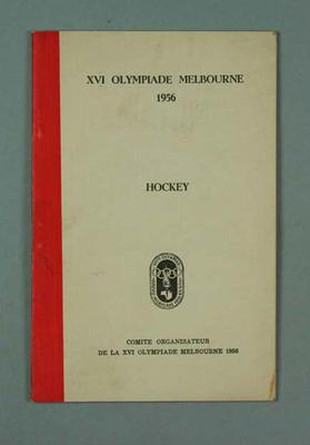 Book, 1956 Olympic Games - Hockey rules & regulations (French edition)