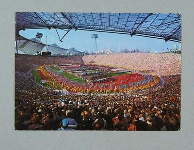 Postcard, image of 1972 Munich Olympic Games Opening Ceremony
