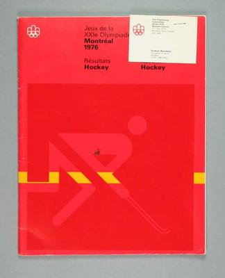 Booklet, 1976 Montreal Olympic Games hockey results
