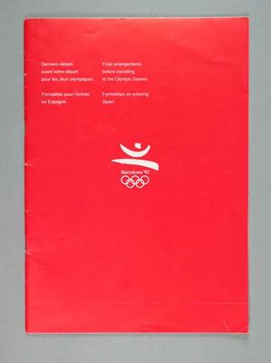 Booklet, 1992 Olympic Games final travel arrangements